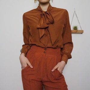 Vtg Burnt Orange Blouse